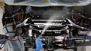 spraying the underbody of a car